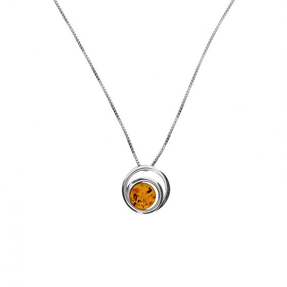 Amber Spiral Pendant #Pendant #Amber #Silver #AmberNecklace #Gemstone