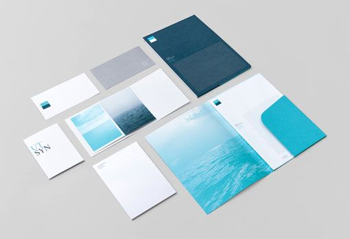 the iden­tity for the Norwegian Shipowners' Association by Neue is so beautiful with shades of calming blue