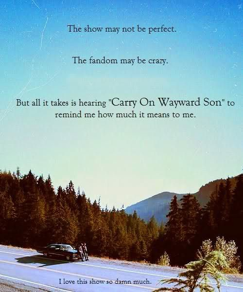 """That perfect moment when you raise you fist in the air precisely as you hear """"Carry on my wayward son..."""" Yeaaah, the fandom really is crazy"""
