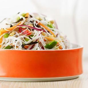 Rice Noodle & Edamame Salad Recipe, fresh for summer.
