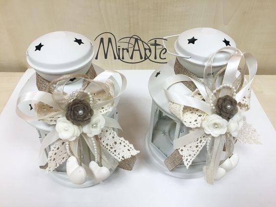 Lanterne ikea adornate in stile shabby chic fiori feltro e cuori ...