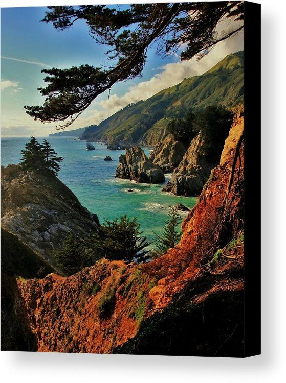 California Coastline Canvas Print by Benjamin Yeager.  All canvas prints are professionally printed, assembled, and shipped within 3 - 4 business days and delivered ready-to-hang on your wall. Choose from multiple print sizes, border colors, and canvas materials.