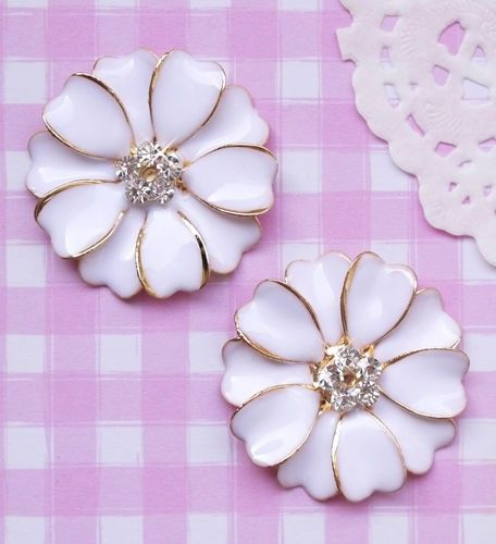 Large Enamel & Diamante Flower Flat Back #Cabochons #Kawaii Kitsch #Decoden. #Craft #Jewelry