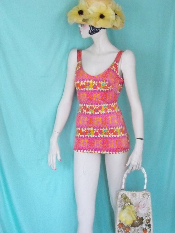 VIBRANT 196070's Hot Pink Swimsuit By Rose by GlamorousScavenger, $32.00
