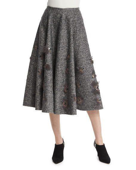 Embellished Dance Skirt, Charcoal