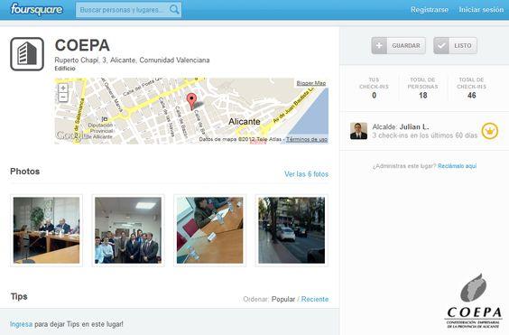 Nuestro perfil de empresa en Foursquare.  ¡No olvides hacer check-in si nos visitas!