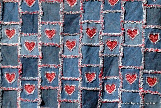 Rag Quilt Denim Patterns Free | Denim Quilt Patterns http://shabbysoul.blogspot.com/2011/02/rag-quilts ...: