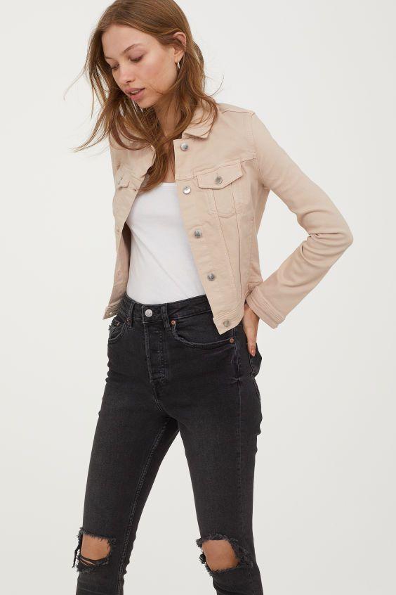plus récent 5ecb7 5a9c8 Veste en jean | Pulls et hauts | Beige outfit, Green jacket ...