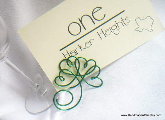 St Patricks Day Wedding Decor Shamrock Place by HandmadeAffair, $10.00