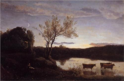 A Pond with three Cows and a Crescent Moon - Camille Corot, 1850, Wikipaintings