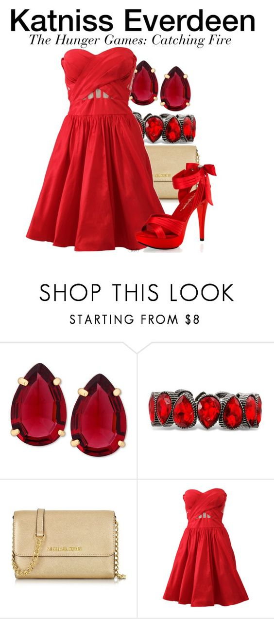 """Katniss Everdeen - The Hunger Games: Catching Fire"" by nerd-ville ❤ liked on Polyvore featuring T Tahari, Michael Kors, Notte by Marchesa, Pleaser and Hungergames"