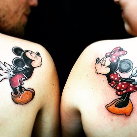 "OMG Cody and I HAVE TO get these!!! They'll say ""You're my person."" ❤️💛🎀 @dreamersnightmare #matchingtattoos #disney #mickeyandminnie #mickeyandminnietattoos #cute #omg #iwant #yes #myperson #disneytattoos #coupletattoos"