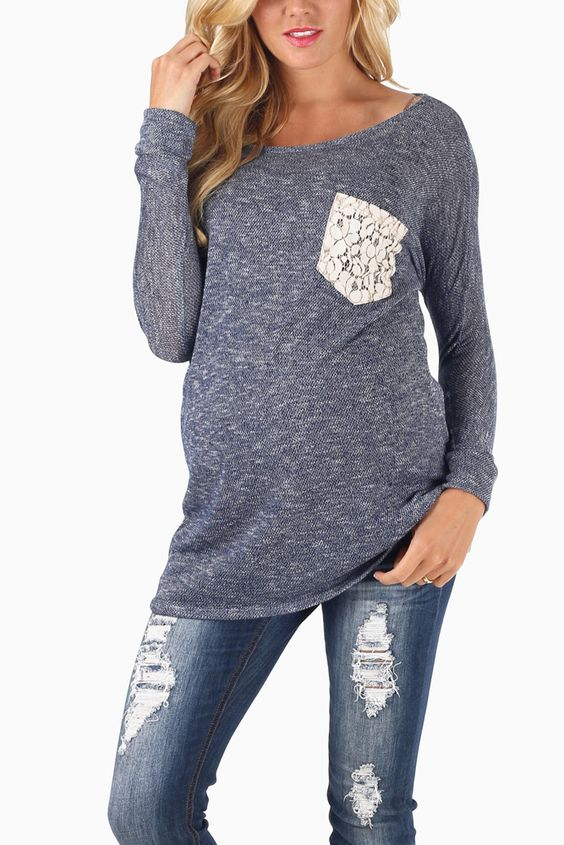 Navy-Blue-Knit-Crochet-Pocket-3/4-Sleeve-Maternity-Top #pinkblush #cutematernityclothes #onlinematernityclothes