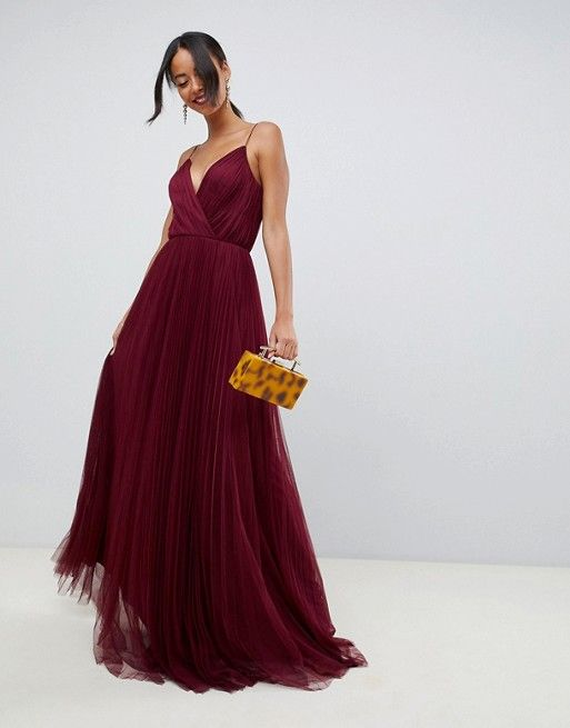 2d462c43403 DESIGN Tall cami pleated tulle maxi dress in 2019