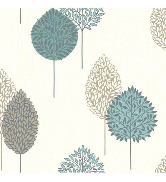 papel pintado arboles modernos turquesa y marron estilo nordico 40816 papel pintado pinterest