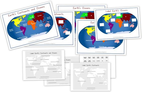 Continents & Oceans Printable