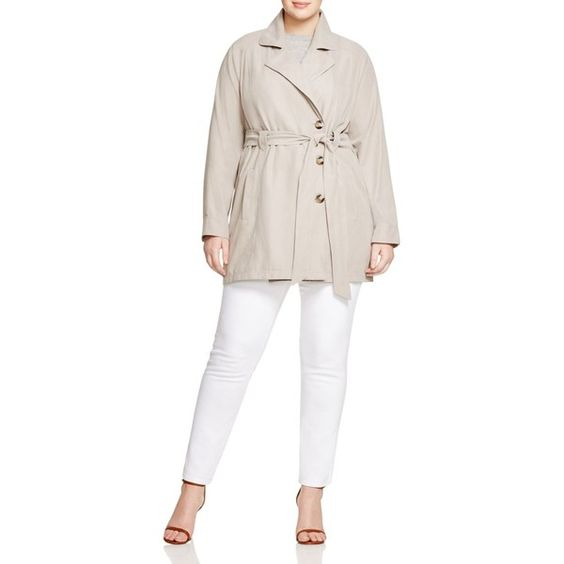Bb Dakota Plus Shayleen Trench Coat (115 AUD) ❤ liked on Polyvore featuring plus size women's fashion, plus size clothing, plus size outerwear, plus size coats, dark khaki, lightweight coat, suede coat, white coat, white trench coat and bb dakota coat