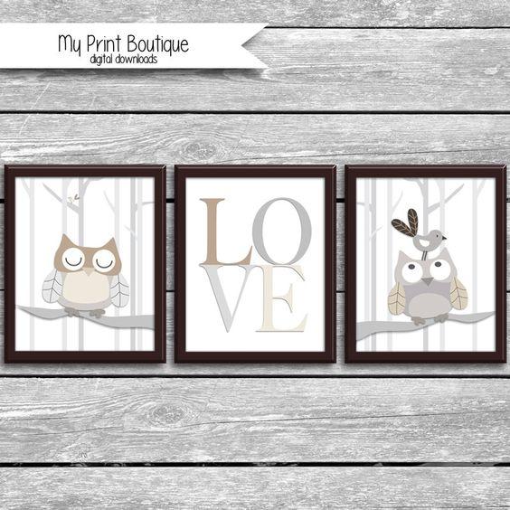 Set of 3 8x10 Inch Baby Night Owl Prints - Coordinates With Levtex Crib Bedding - LOVE Woodland Tree Owls - Bird Forrest Digital Downloads by MyPrintBoutique on Etsy