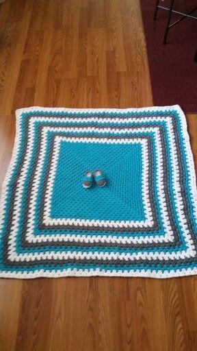 Crochet baby blanket and booties