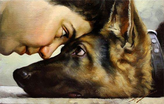 #art #dog #germanshephard: Strino Gianni, Dogs Cats Animals Inspiration, Best Friends, German Shepherds, Paintings Artists, German Shepard, John Dow