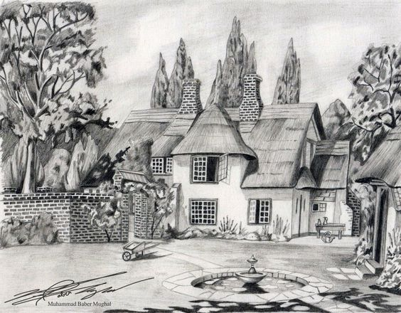 Pencil sketches of nature, Sketches of nature and House sketch on ...