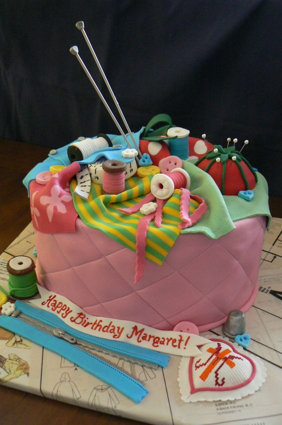 knitting basket birthday cake | Sewing Box for Margaret — Birthday Cakes