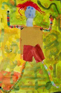 figures in motion using fabric scraps