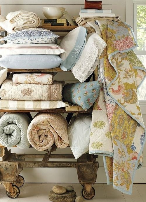 Towels and Quilts: Plenty of soft towels and vintage quilts