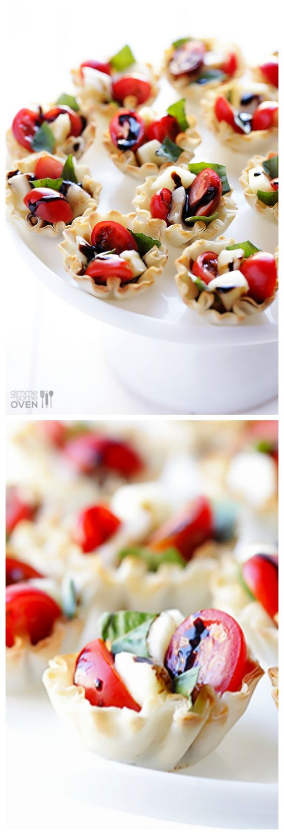 All you need are 5 ingredients to make these easy Phyllo Caprese Cups.  They are the perfect appetizer! | gimmesomeoven.com