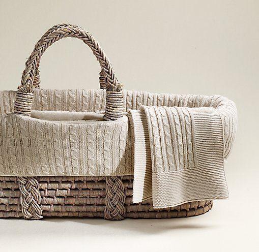 Cable Knit Moses Basket Bedding & Ash Basket Set   Moses Basket & Bassinet Bedding   Restoration Hardware Baby & Child