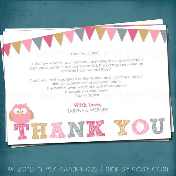 Baby Owl Thank You Card Design Made to Match by Tipsy par MTipsy, $14,00