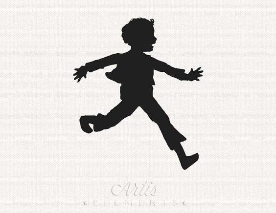 Silhouette Clipart of Excited Running Boy by ArtisElements ...