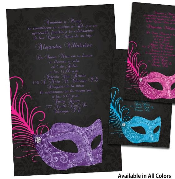 quinceanera ideas | Masquerade Quinceanera Invitations, Quince ...