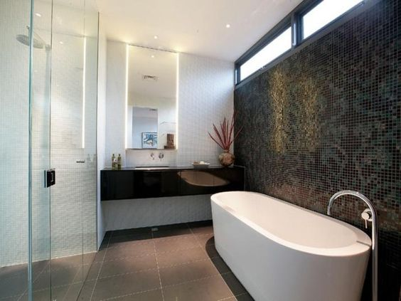 Black Vanity With White Basin White Wall Tiles Feature