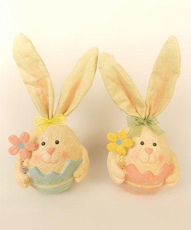 Look at this #zulilyfind! Bunny Egg Figurine - Set of Two #zulilyfinds
