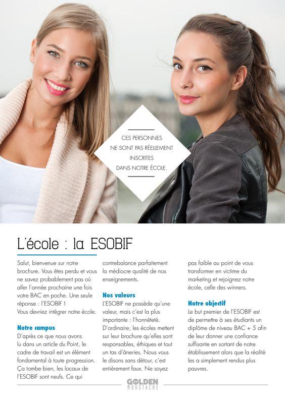 Description de l'écoles sur la brochure