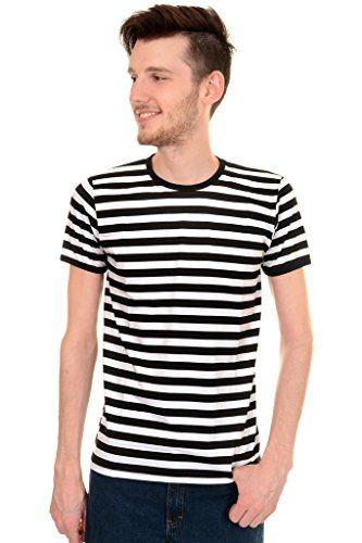 Mens Indie Retro 60's Black & White Striped Short Sleeve…