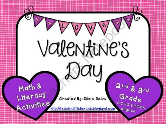 Valentine S Day Math Worksheets For 3rd Grade : Valentines day math and literacy for nd rd grade from