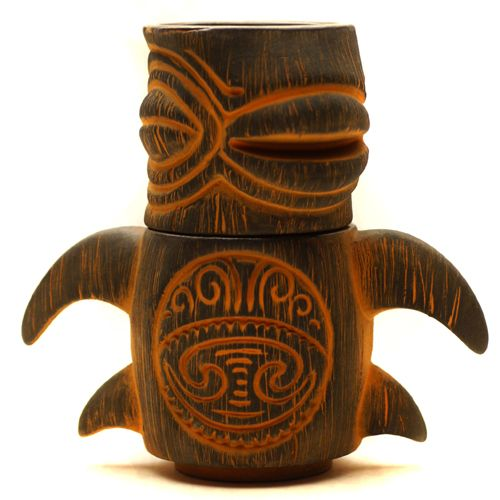 Sea Turtle - ceramic tiki Stacker Set (Orange Black) by Munktiki of Portland Oregon