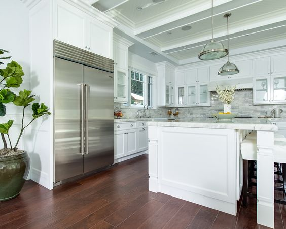 Coffered Ceiling & shaker style cabinets | Cape Cod Style Kitchen ...