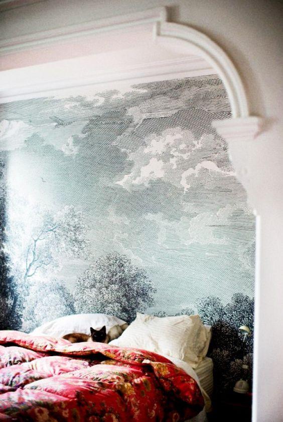 Trend Alert: Panoramic Murals // Bedroom With Mural Wallpaper and Red Comforter