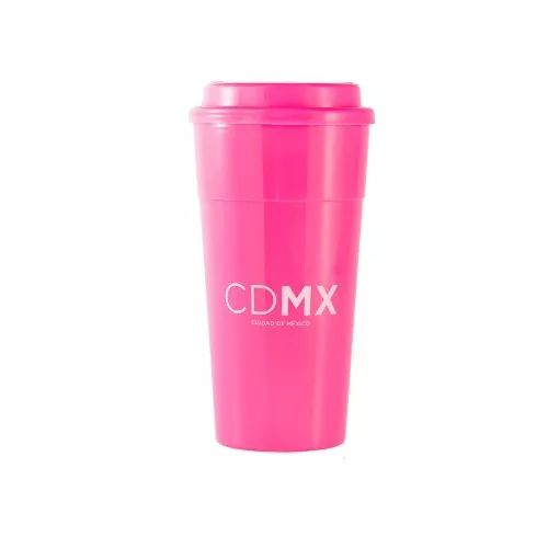Vaso Termico Rosa Con Tapa Cdmx Bebidas Calientes Portatil - $ 40.00