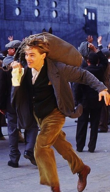 Leonardo DiCaprio as Jack Dawson in 'Titanic' (1997). Running to catch the ship, after winning his ticket in a very lucky hand of poker.