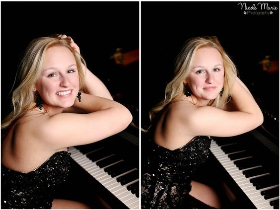 Senior girl with piano | Nicole Marie Photography