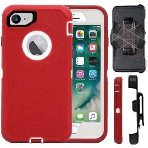 Iphone 7 8 7 8 Plus Defender Case Cover Belt Clip Fits Otter Box Red White Iphone Case Case Cover