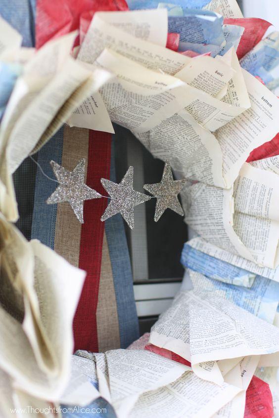 Patriotic Vintage Book Page Wreath