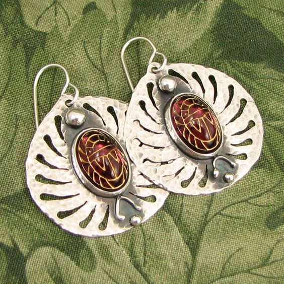 "Scarab ""Transcendence 3"" Sterling Earrings - Vintage Purple Glass Scarabs - OOAK by marybird on Etsy"