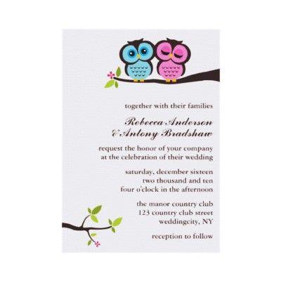 Lovely Owls Wedding Invitations