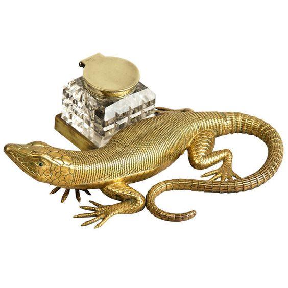 English Antique Brass Salamander Ink Stand, Circa 1890 | 1stdibs.com:
