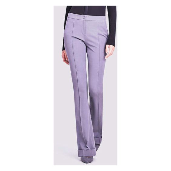 Elie Tahari Bailee Pant In Cotton Twill (€120) ❤ liked on Polyvore featuring pants, sharkfin, elie tahari pants, purple pants, flared pants, retro pants and tailored pants